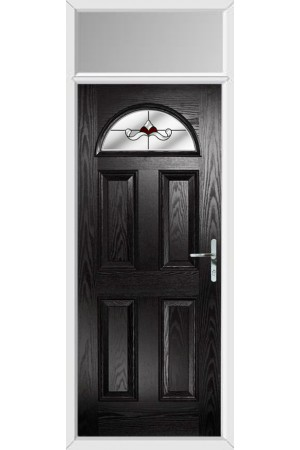 The Durham Black Composite Door with Red Crystal Bohemia and Toplight