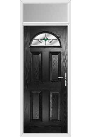 The Durham Black Composite Door with Green Crystal Bohemia and Toplight