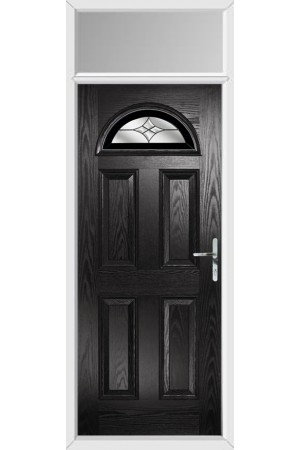 The Durham Black Composite Door with Black Crystal Harmony and Toplight