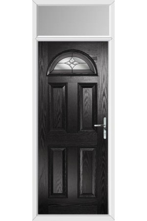The Durham Black Composite Door with Crystal Harmony Frost and Toplight
