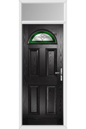 The Durham Black Composite Door with Green Crystal Harmony and Toplight