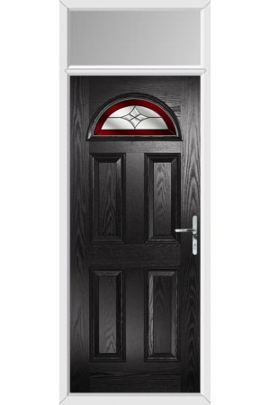 The Durham Black Composite Door with Red Crystal Harmony and Toplight