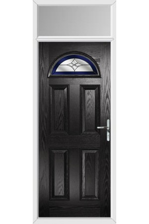 The Durham Black Composite Door with Blue Crystal Harmony and Toplight