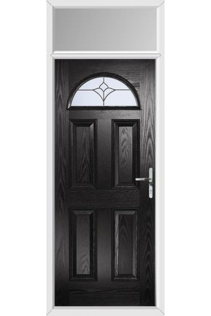 The Durham Black Composite Door with Crystal Tulip Arch and Toplight