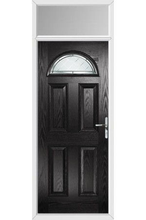 The Durham Black Composite Door with Diamond Cut and Toplight