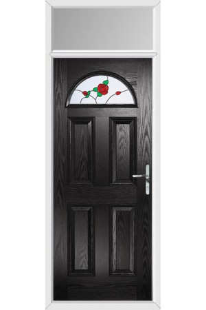 The Durham Black Composite Door with English Rose and Toplight
