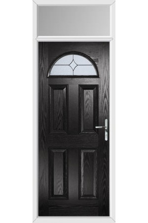 The Durham Black Composite Door with Flair Glazing and Toplight