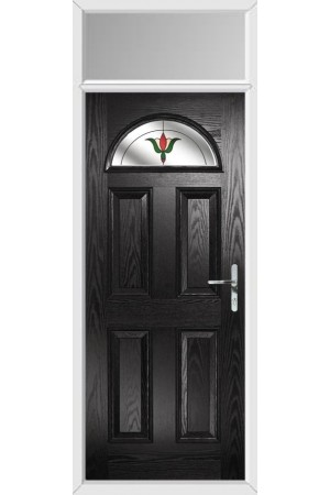 The Durham Black Composite Door with Fleur and Toplight