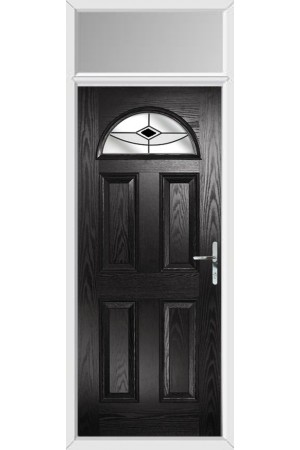 The Durham Black Composite Door with Black Fusion Ellipse and Toplight