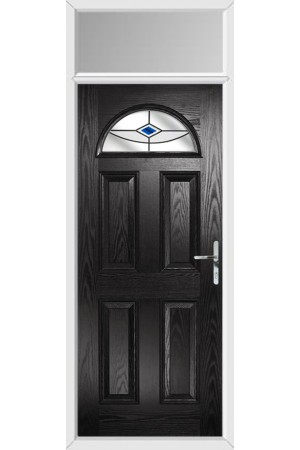 The Durham Black Composite Door with Blue Fusion Ellipse and Toplight