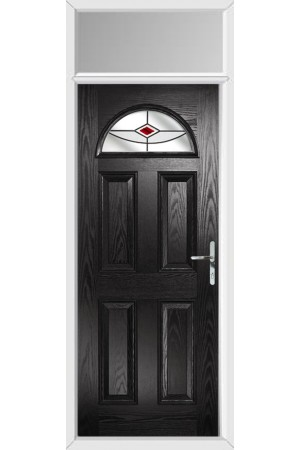 The Durham Black Composite Door with Red Fusion Ellipse and Toplight