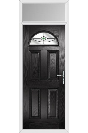 The Durham Black Composite Door with Green Fusion Ellipse and Toplight