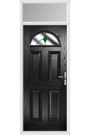 The Durham Black Composite Door with Green Diamonds and Toplight