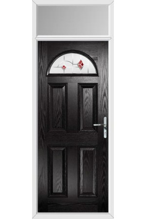 The Durham Black Composite Door with Red Murano and Toplight