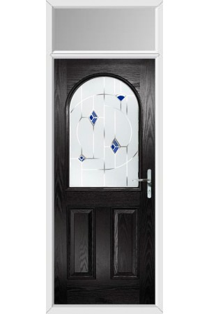 The Essex Black Composite Door with Blue Murano and Toplight