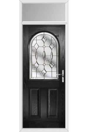 The Essex Black Composite Door with Brass Art Clarity and Toplight