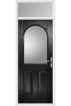 The Essex Black Composite Door with Clear Glazing and Toplight