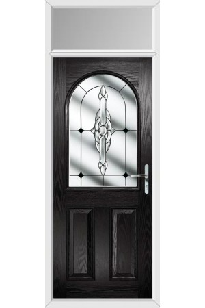 The Essex Black Composite Door with Black Crystal Bohemia and Toplight