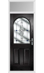 The Essex Black Composite Door with Blue Crystal Bohemia and Toplight