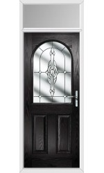 The Essex Black Composite Door with Clear Crystal Bohemia and Toplight
