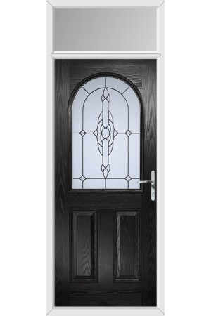 The Essex Black Composite Door with Crystal Bohemia Frost and Toplight