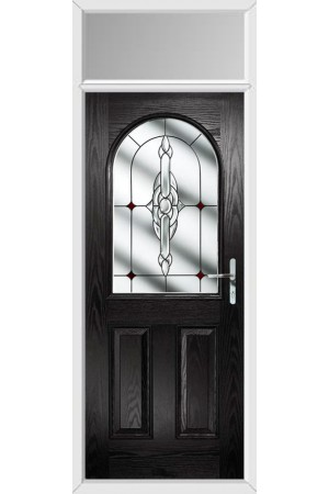 The Essex Black Composite Door with Red Crystal Bohemia and Toplight
