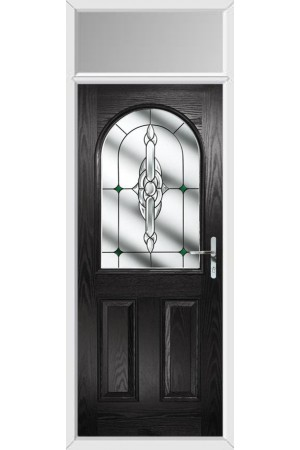 The Essex Black Composite Door with Green Crystal Bohemia and Toplight