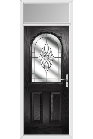 The Essex Black Composite Door with Crystal Eternity and Toplight