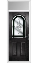 The Essex Black Composite Door with Black Crystal Harmony and Toplight