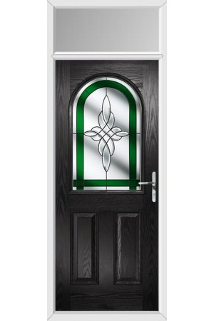 The Essex Black Composite Door with Green Crystal Harmony and Toplight