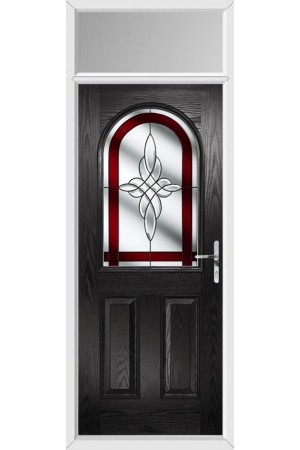 The Essex Black Composite Door with Red Crystal Harmony and Toplight