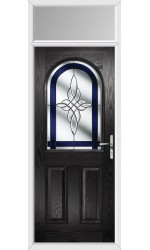 The Essex Black Composite Door with Blue Crystal Harmony and Toplight