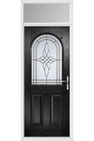 The Essex Black Composite Door with Crystal Harmony Frost and Toplight