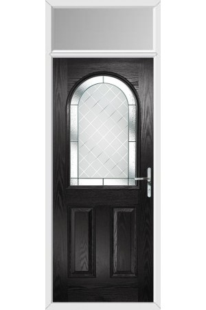 The Essex Black Composite Door with Diamond Cut and Toplight