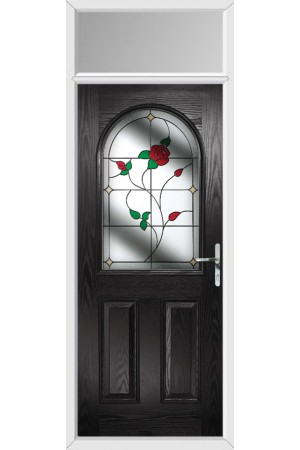 The Essex Black Composite Door with English Rose and Toplight