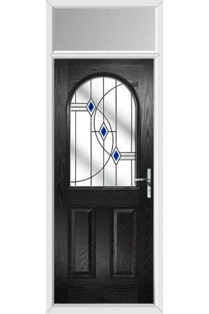 The Essex Black Composite Door with Blue Fusion Ellipse and Toplight