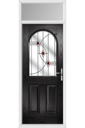 The Essex Black Composite Door with Red Fusion Ellipse and Toplight