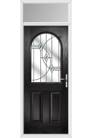 The Essex Black Composite Door with Green Fusion Ellipse and Toplight