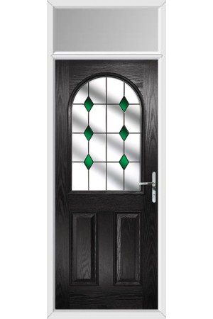 The Essex Black Composite Door with Green Diamonds and Toplight