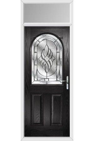 The Essex Black Composite Door with Zinc Art Elegance and Toplight