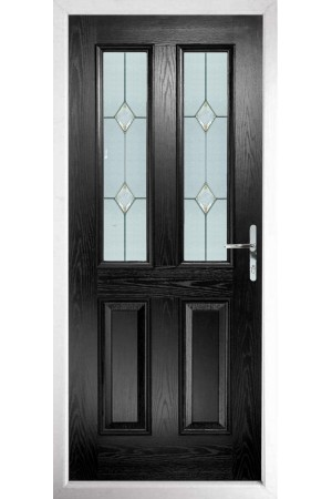 The Cheshire Black Composite Door with Classic Glazing