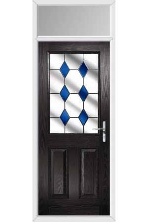 The Fort William Black Composite Door with Blue Diamonds and Toplight