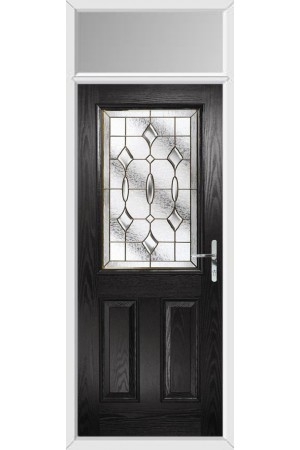 The Fort William Black Composite Door with Brass Art Clarity and Toplight