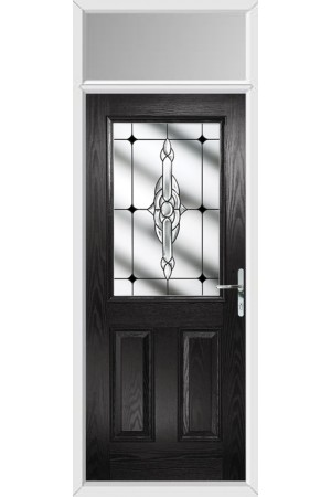 The Fort William Black Composite Door with Black Crystal Bohemia and Toplight