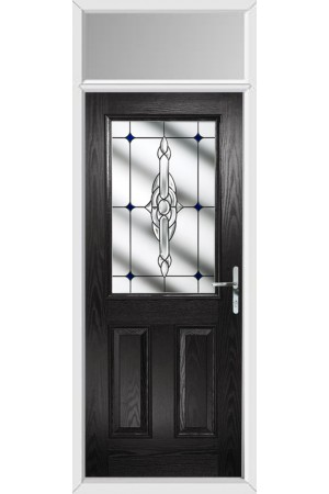 The Fort William Black Composite Door with Blue Crystal Bohemia and Toplight