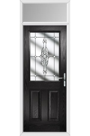 The Fort William Black Composite Door with Clear Crystal Bohemia and Toplight