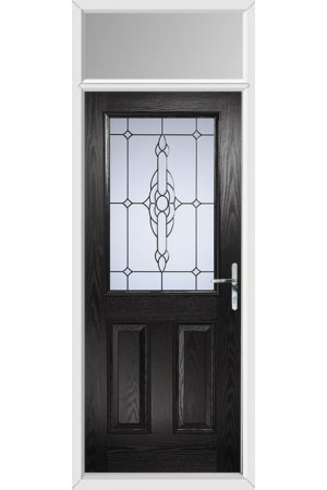 The Fort William Black Composite Door with Crystal Bohemia Frost and Toplight