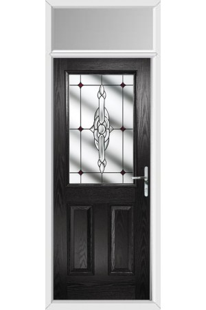 The Fort William Black Composite Door with Red Crystal Bohemia and Toplight