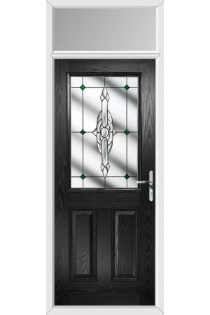 The Fort William Black Composite Door with Green Crystal Bohemia and Toplight