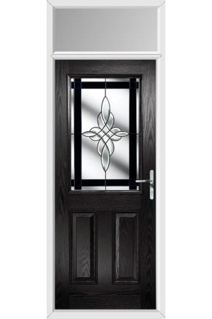 The Fort William Black Composite Door with Black Crystal Harmony and Toplight